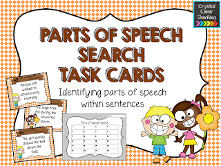 Parts of Speech Search Task Cards: a free grammar product to help your students learn to identify different parts of speech within sentences
