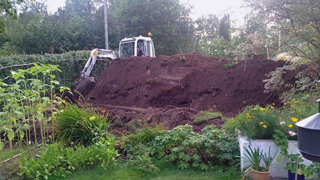 grävning för växthus pågår