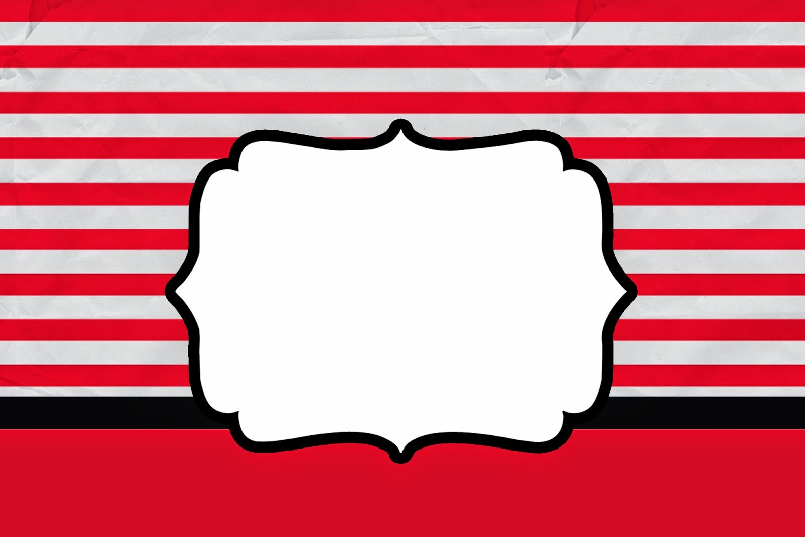 Red and White Stripes: Free Printable Wedding Invitations.