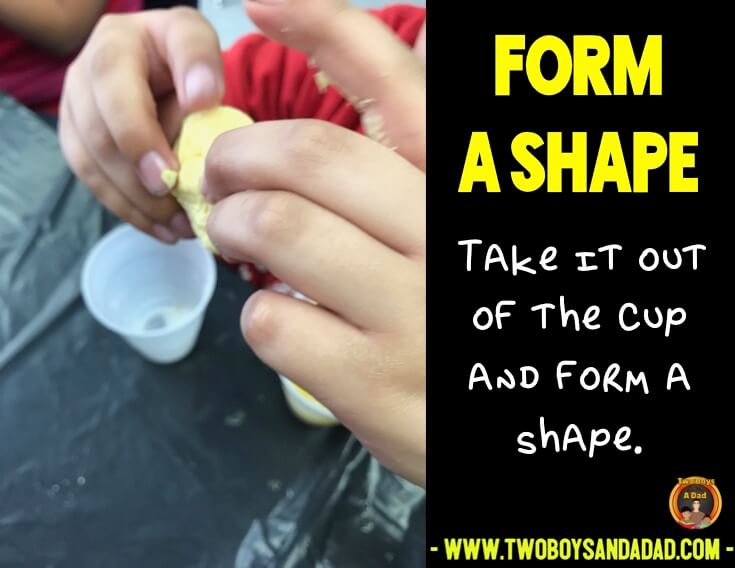 Forming a shape with the mixture