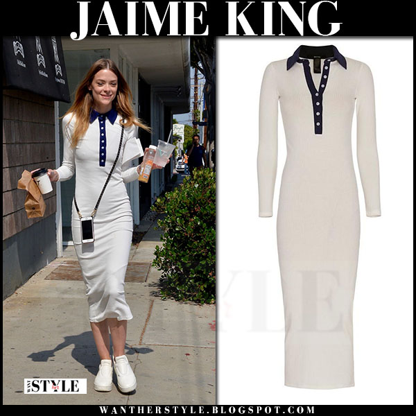 Jaime King in white rib knit polo dress smythe what she wore streetstyle