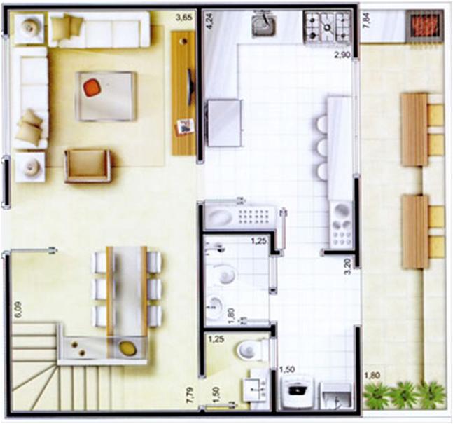Plantas de casas com tr s quartos imagens para celular for Casa moderna gratis