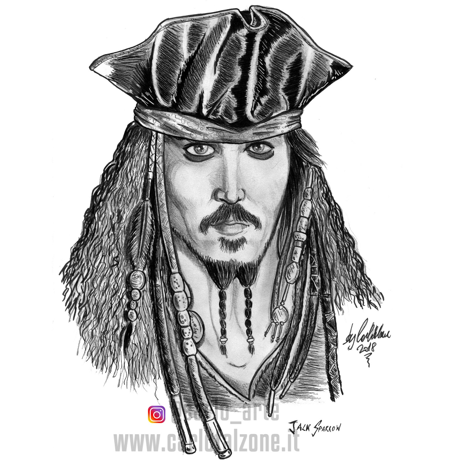 Pirati Dei Caraibi Disegno.Carlo Falzone Jack Sparrow Da I Pirati Dei Caraibi