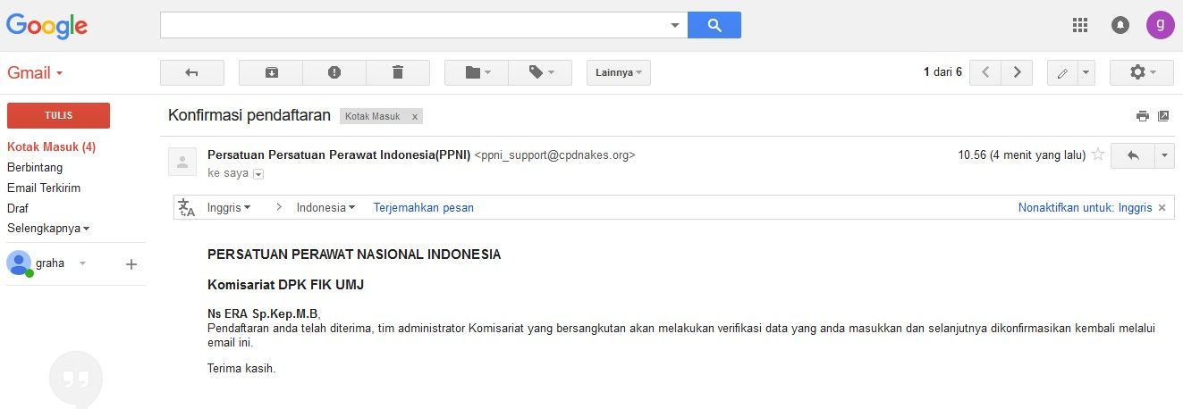konfirmasi email pendaftaran anggota PPNI