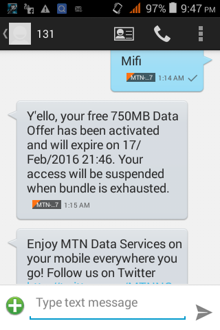 New IMEI 2016 Free MTN 750mb