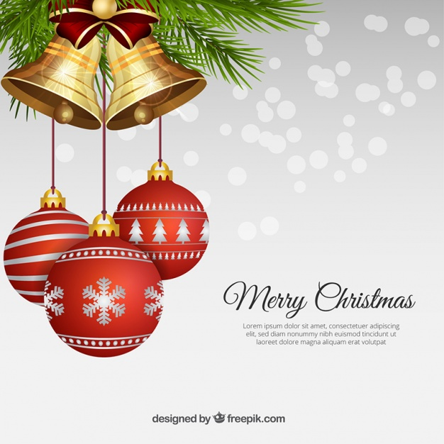 Realistic christmas balls with bells Free Vector
