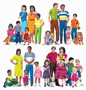 diversos grupos familiares de todas razas