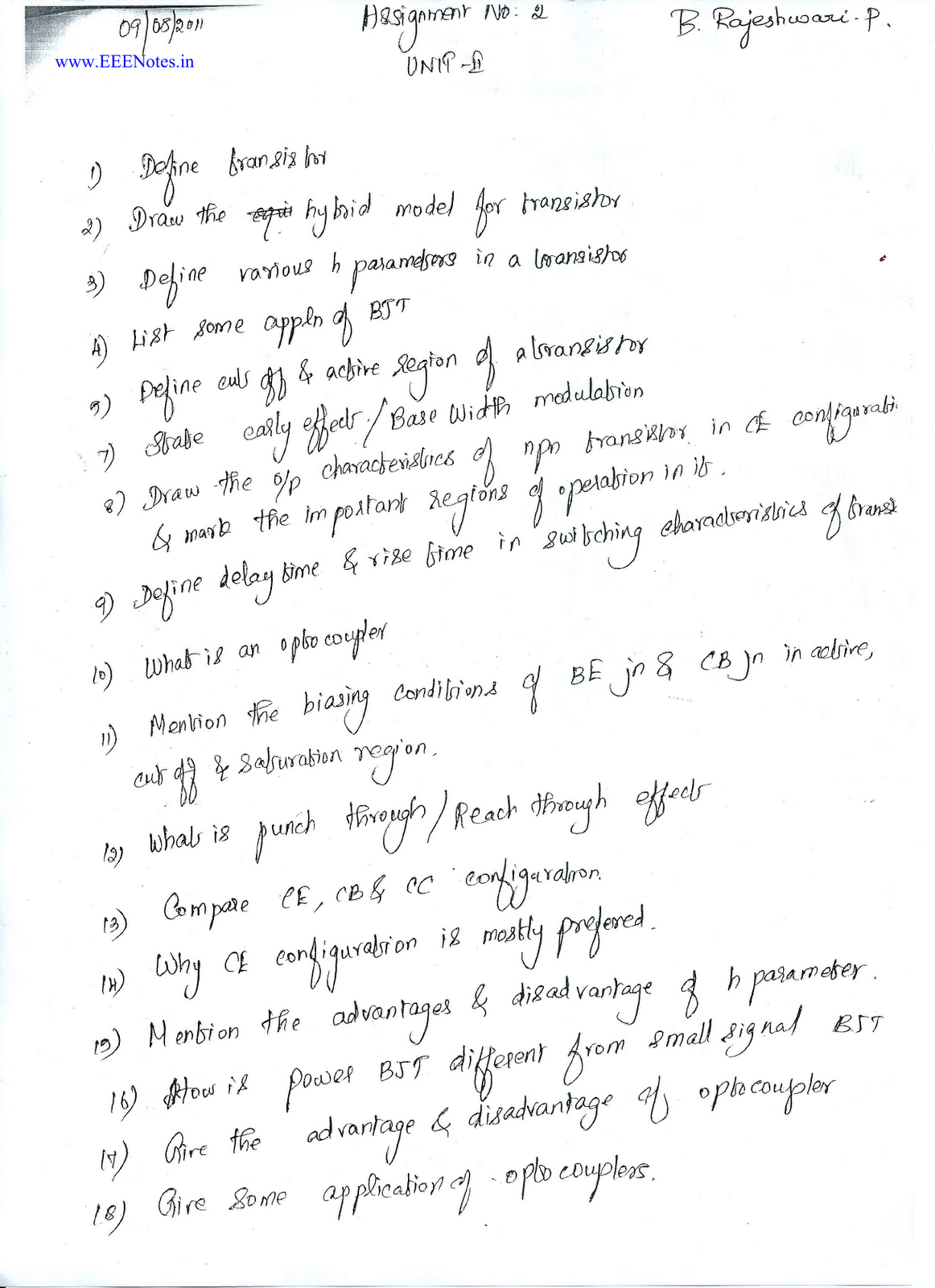 Electron Device and Circuits - Unit 2 - 2 Marks with answers