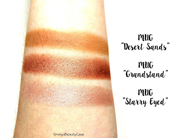 Makeup Geek Eye Shadow Swatches Desert Sands, Grandstand and Starry Eyed