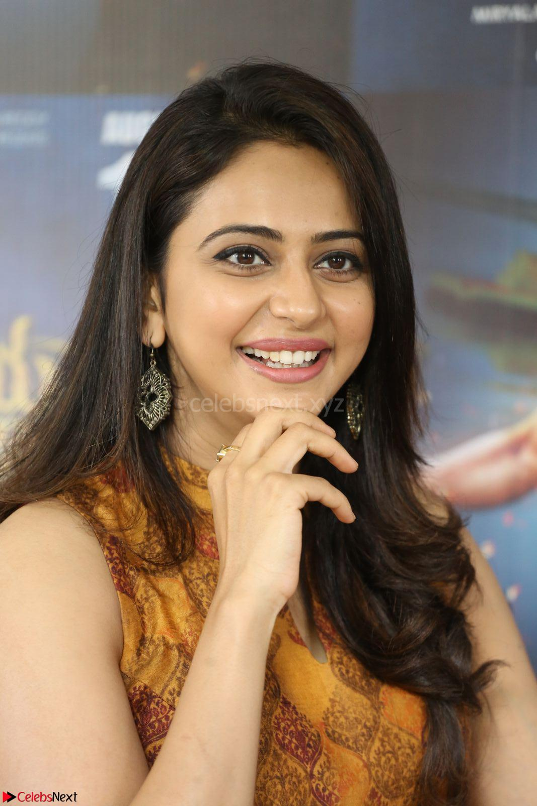 Rakul Preet Singh smiling Beautyin Brown Deep neck Sleeveless Gown at her interview 2.8.17 ~ CelebsNext Exclusive Celebrities Galleries