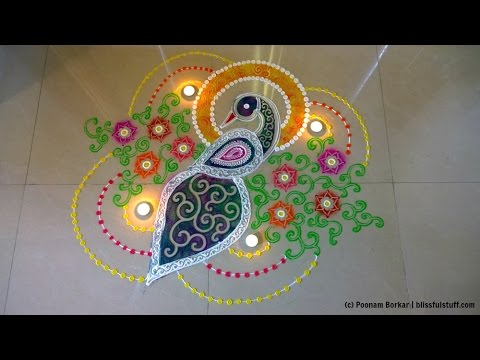 peacock rangoli design for diwali