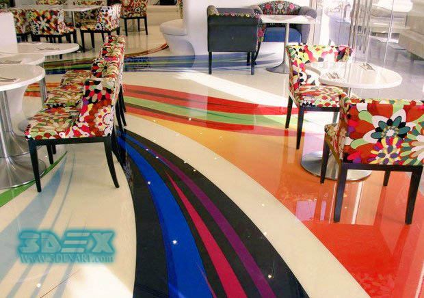 Epoxy Painted 3D Flooring Designs For Restaurants