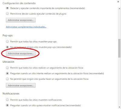 Administrar excepciones en Google Chrome