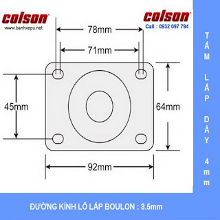 Bảng vẽ kích thước tấm lắp bánh xe xoay PU phi 75 có khóa chịu tải 82kg | S2-3056-95P-B4W