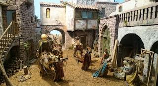 Plaça de Sant Jaume, exposición temporal de pesebres.