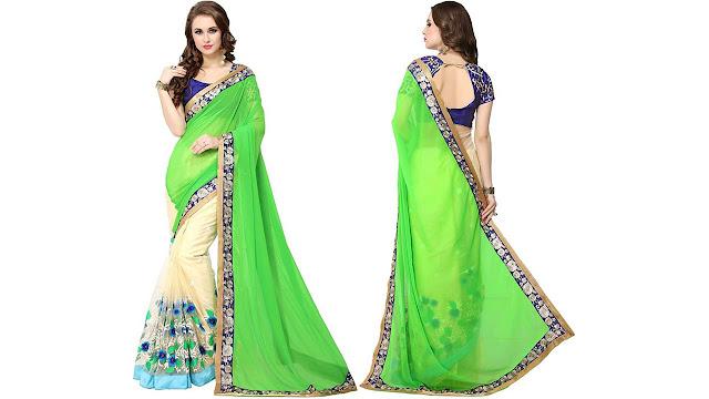 PANCHRATNA Embroidered Fashion Georgette, Net Saree  (Green)