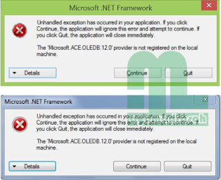 Error Emis Microsoft.ACE.OLEDB.12.0
