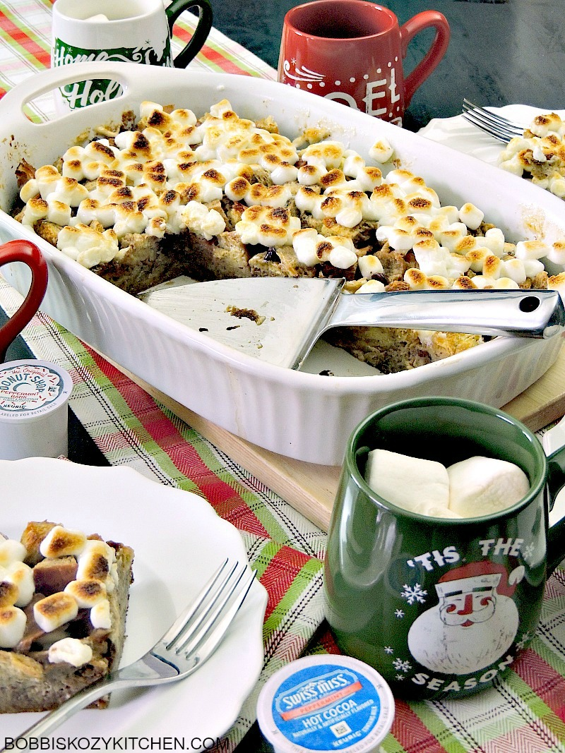 Peppermint Hot Chocolate Bread Pudding is rich, and creamy, and loaded ...