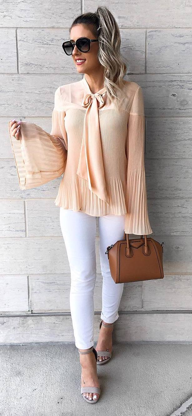 blouse + bag + skinnies + heels