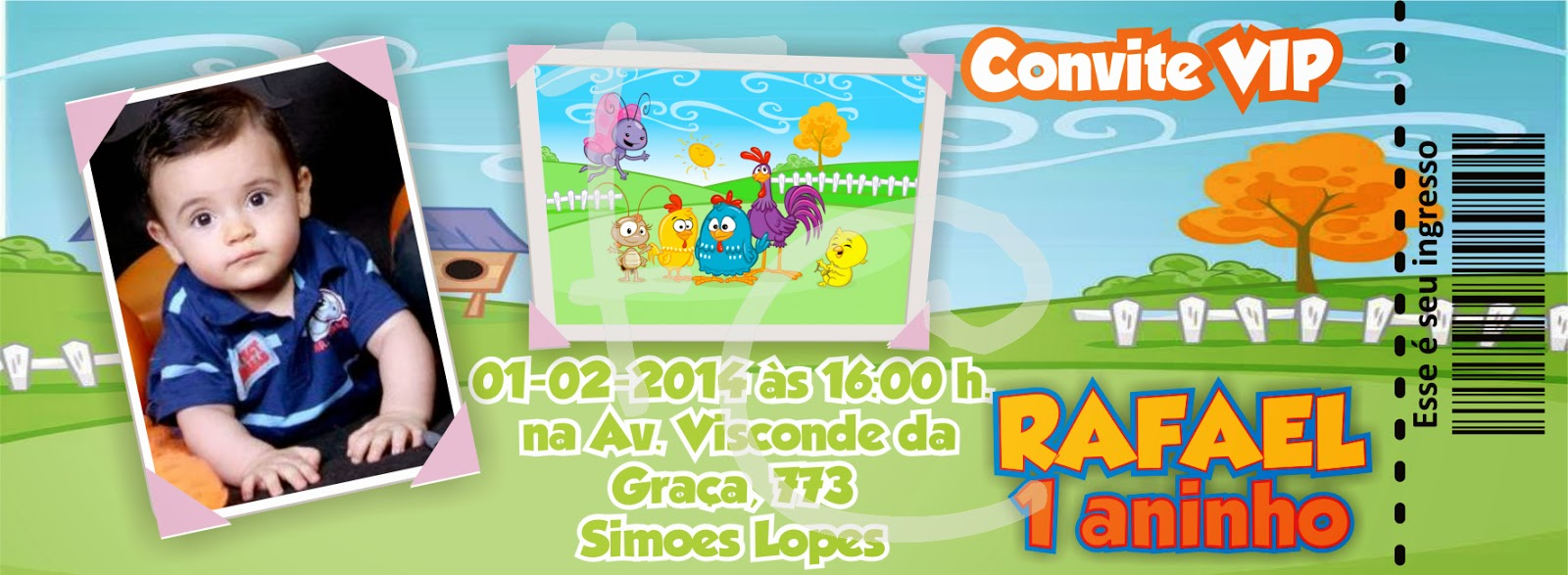 Convite Ingresso - Galinha Pintadinha