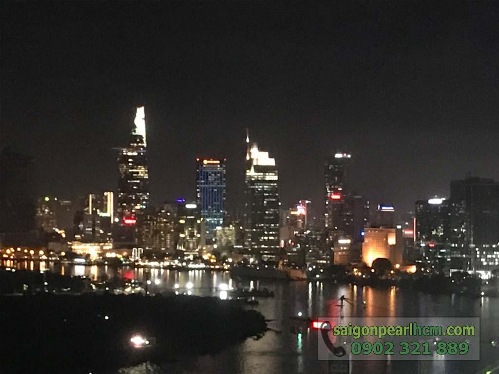 Ảnh tòa nhà Bitexco Quận 1 buổi tối được chụp từ căn hộ 2 phòng ngủ Ruby2 Saigon Pearl cho thuê.