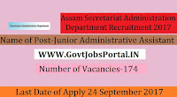 Assam Secretariat Administration Department Recruitment – 174 Junior Administrative Assistant