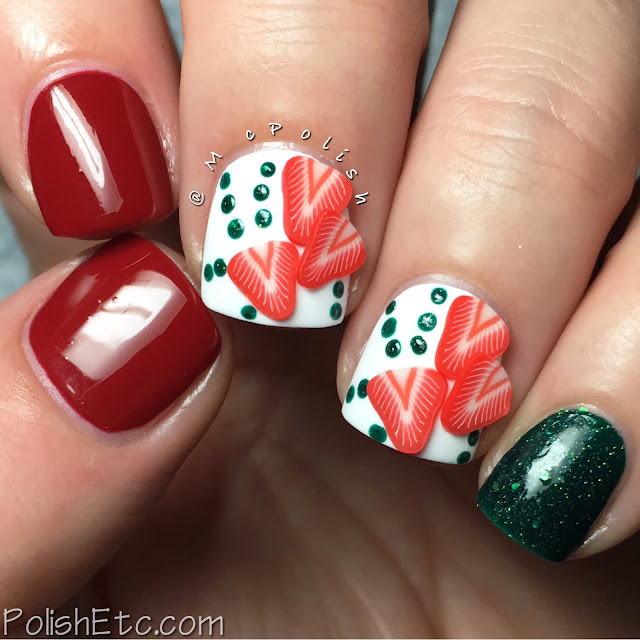 Red Nails for the #31DC2016Weekly - Strawberry Fimo - McPolish