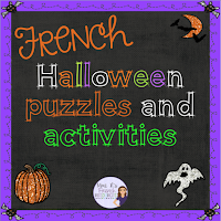 Do you want some fun activities for your French class this October?  OUI!  You'll love these puzzles, and printables PLUS you'll get a Halloween-themed Find Someone who!