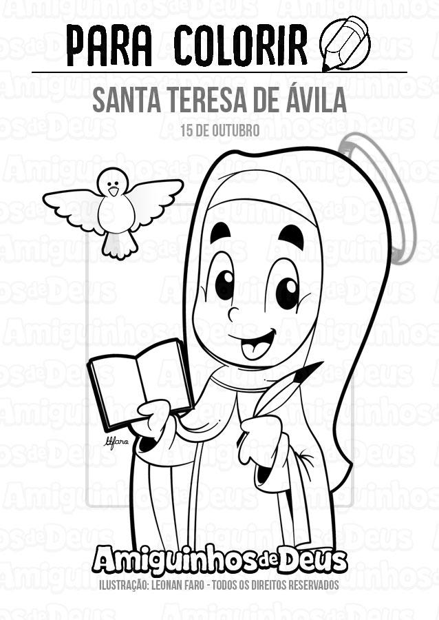 santa teresa de avila desenho para colorir