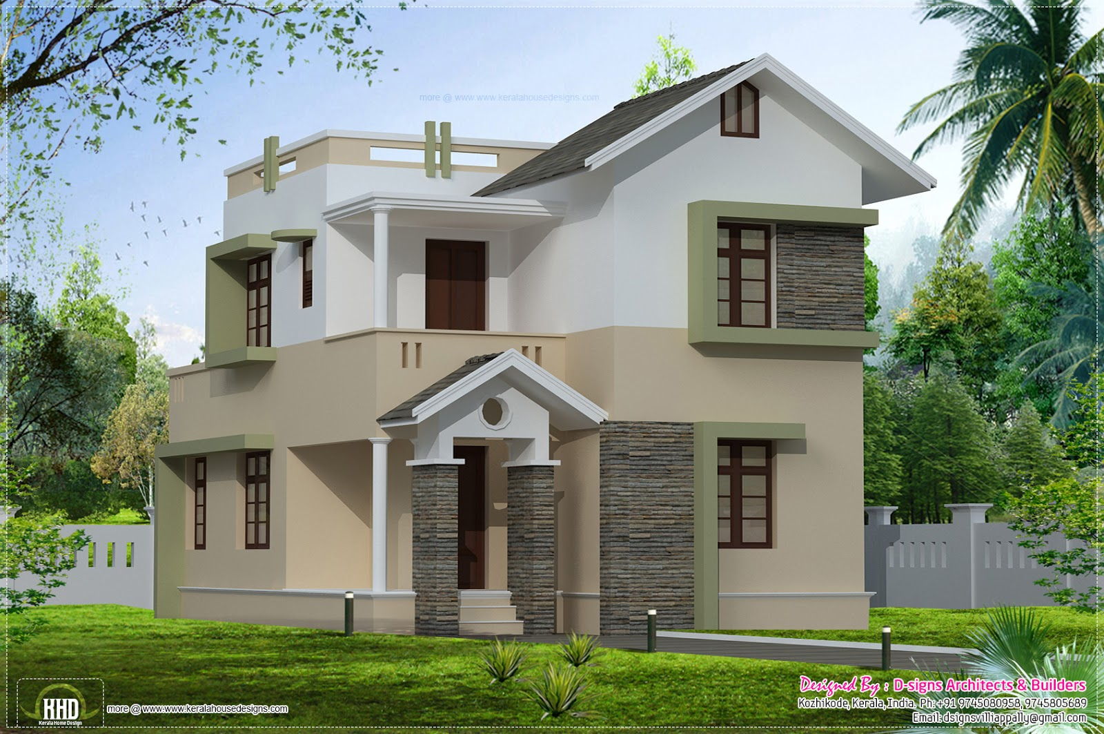 1400 square feet small villa elevation kerala home for Modern house designs and floor plans in india