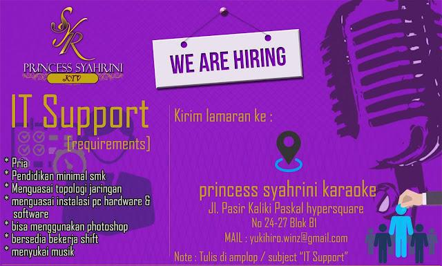 Lowongan Kerja IT Support Princess Syahrini