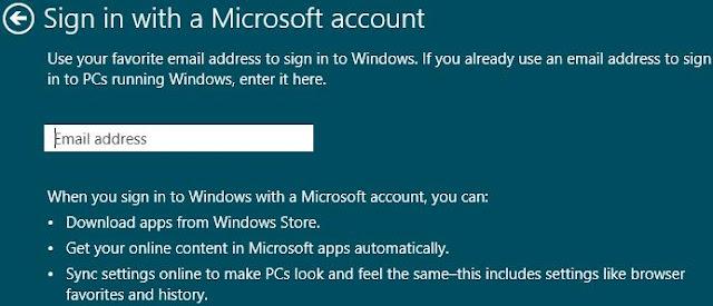 Windows 8, paramètres PC, Connectez-vous avec un compte Microsoft. Entrez votre adresse e-mail existante. Ensuite, cliquez sur Suivant.