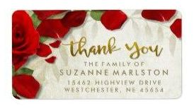 thank you red rose petals matching custom address label with gold lettering