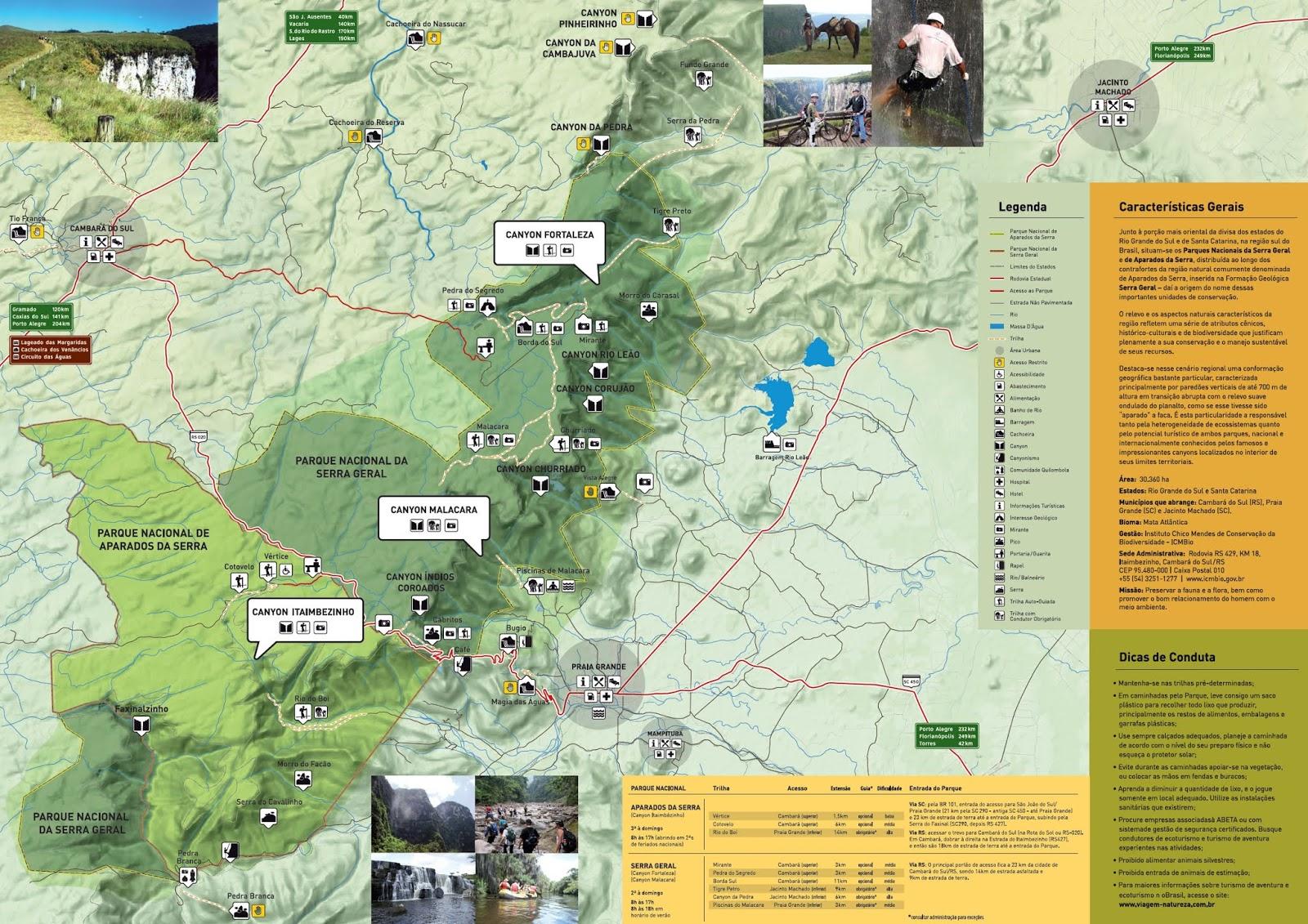 Mapa Turístico de Cambará do Sul | Rio Grande do Sul