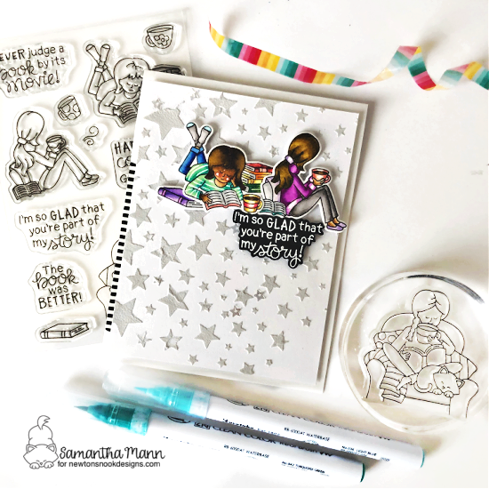 Coffee and Books Card by Samantha Mann | Sips & Stories Stamp Set and Starfield Stencil by Newton's Nook Designs #newtonsnook #handmade