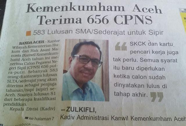Kemenkumham  Aceh Terima 656 CPNS 2017