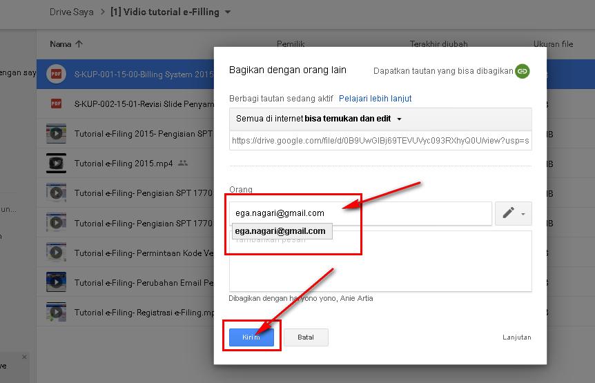 Cara Share File Google Drive - Masukkan Email Tujuan