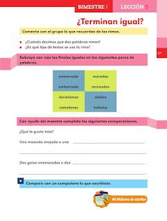Apoyo Primaria Español 2do grado Bloque 1 lección 5 ¿Terminan igual?