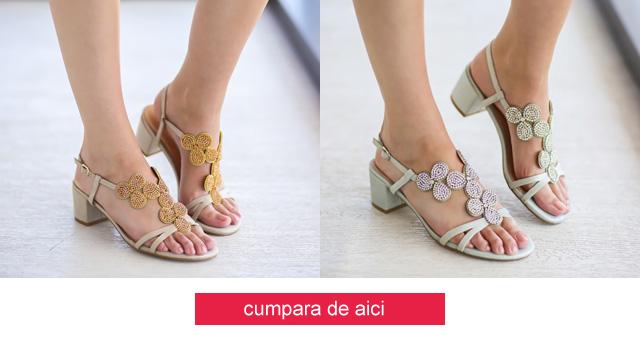 Sandale de zi elegante argintii, aurii cu toc ic gros ieftine