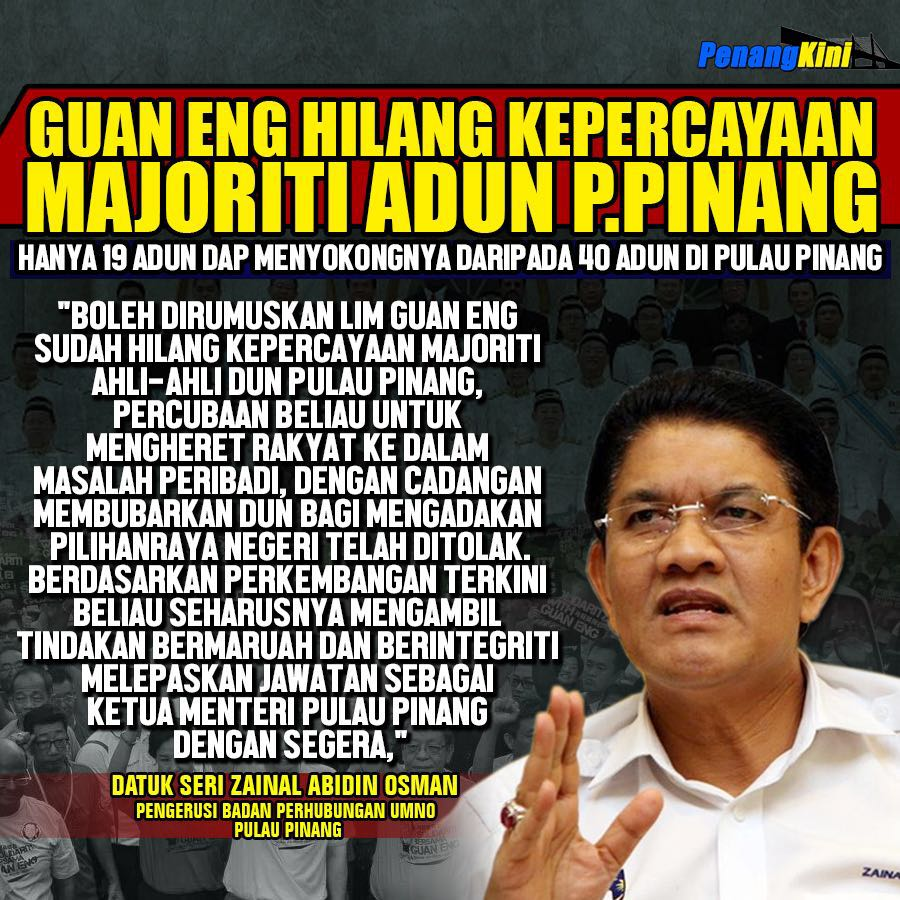 Ketika Kepercayaan 2: Guan Eng Hilang Kepercayaan Majoriti ADUN Pulau Pinang