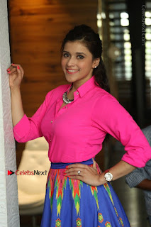 Actress Mannar Chopra in Pink Top and Blue Skirt at Rogue movie Interview  0033.JPG