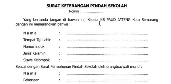 Contoh Surat Keterangan Pindah Sekolah Yang Benar sesuai prosedur