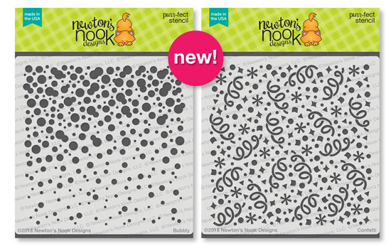 Bubbly and Confetti Stencils | 6x6 Premium Stencils by Newton's Nook Designs #newtonsnook