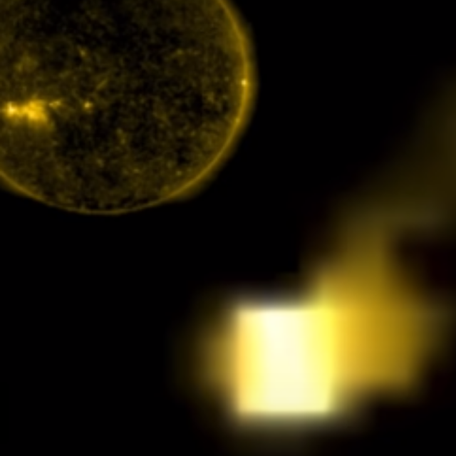 Cube UFO right next to our Sun is absolutely immense in size.
