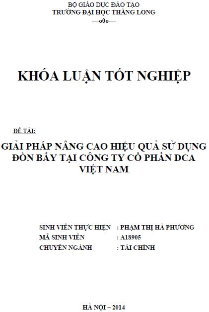 Giải pháp nâng cao hiệu quả sử dụng đòn bẩy tại Công ty Cổ phần DCA Việt Nam