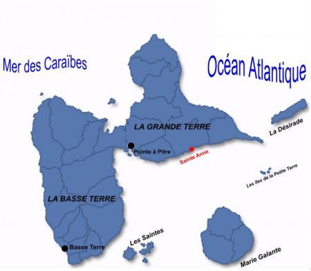 Carte de Sainte Anne en Guadeloupe