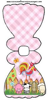Tarjeta con forma de vestido de La Granja Bebés en Rosa.