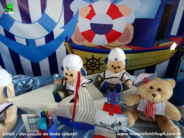 Ornamentação de festa infantil Ursinho Marinheiro