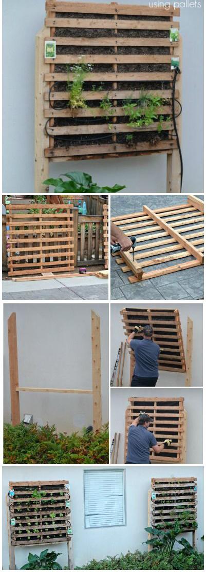 como hacer un jardin vertical con palets de madera paso a paso