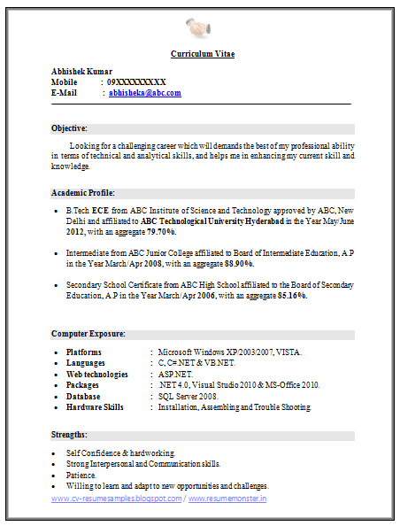 Resume Format Freshers B Tech Ece | Create professional resumes ...